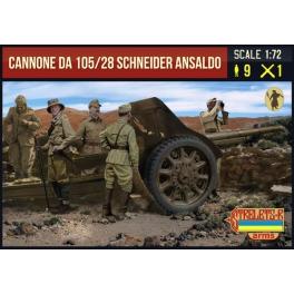 Strelets A016 Canon de 105mm/28 Schneider Ansaldo avec servants italiens 2nde GM