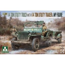 Takom 2126 Jeep Willys 1/4 ton avec remorque et figurine de MP
