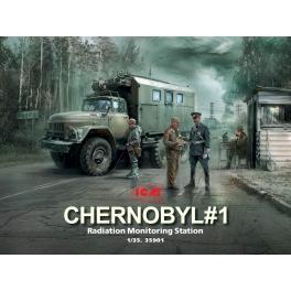 ICM 35901 Set Tchernobyl 1 - Station de mesure de la radioactivité (Zil 131 KShM + 5 figurines + check-point)